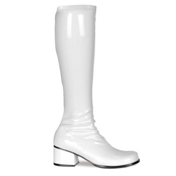 Retro Knee Boot RETRO-300 - Patent white