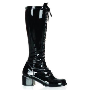 Retro Knee Boot RETRO-302 - Patent black