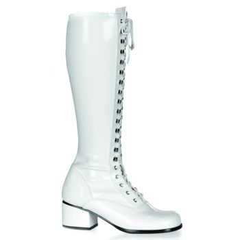 Retro Knee Boot RETRO-302 - Patent white