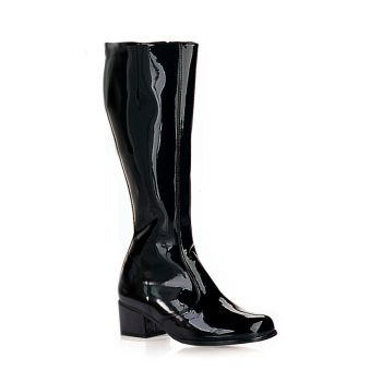 Retro Knee Boot GOGO - Patent black