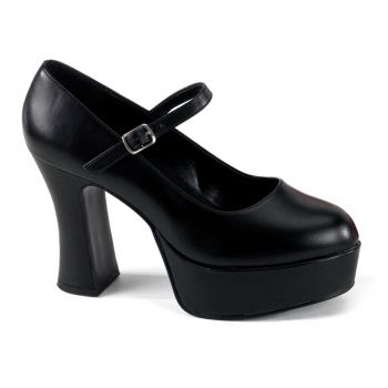 Retro Platform Pumps MARYJANE-50 - Black PU