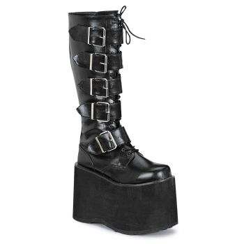 Men Platform Knee Boot MEGA-618 - PU Black