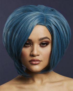 Asymmetric Bob Wig SAVANNA -  Petrol Blue