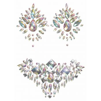 Pasties and Body Jewel Set - Iridescent Silver