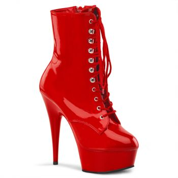 Platform ankle boots DELIGHT-1020 - Patent Red