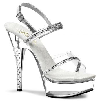 Platform High Heels DIAMOND-639 - Silver/Clear