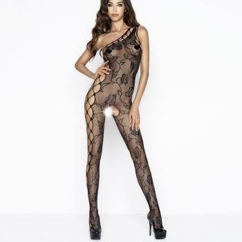 Net Bodystocking with roses BS036 - Black*