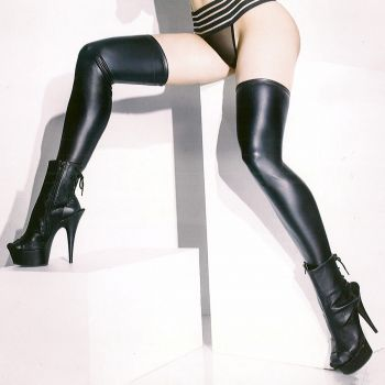 Wet Look Stay Up Stockings - Black*