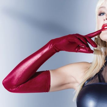 Matte Wet Look Gloves - Merlot*