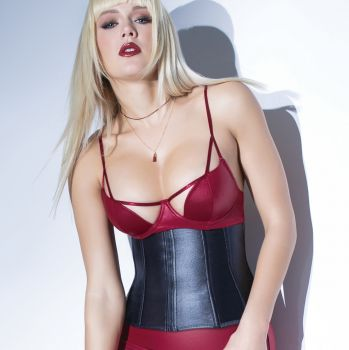Wet Look Waist Cincher with Back Lacing - Black*