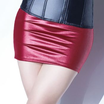 Matte Wetlook Mini Skirt - Merlot*