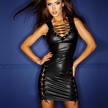Wetlook Lacing Mini Dress - Black