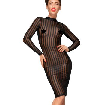 Transparent Striped Dress F182 - Black