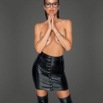 Power Wet Look Mini Skirt F226 - Black