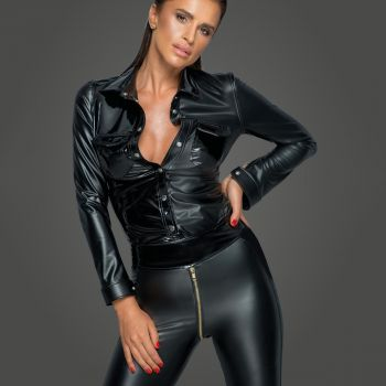 Power Wet Look Top Blouse F227 - Black
