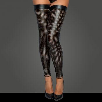 Laser Cut Wet Look Stockings F236 - Black