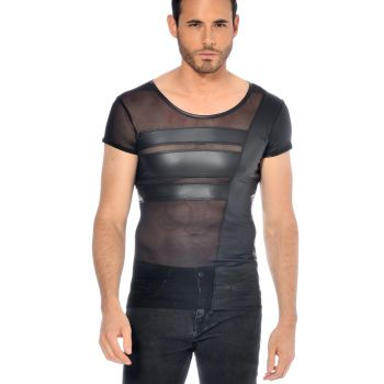 Wet Look T-Shirt BENJEN - Black