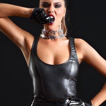Faux Leather Top REGLISSE - Black*