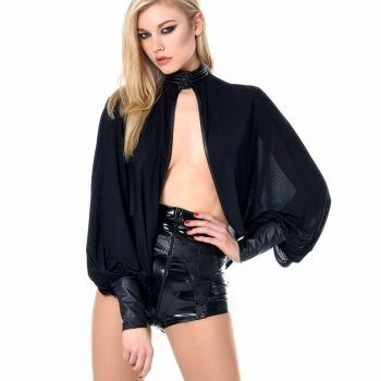 Mesh Bolero - Faux Leather/Black