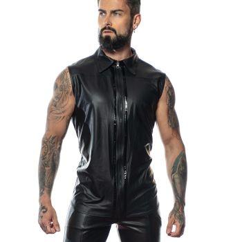 Wet Look Shirt CHUCK - Black