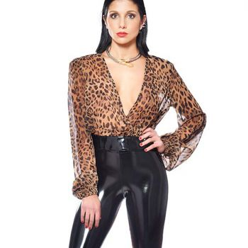 Crop Top VIOLETA - Brown Leopard*