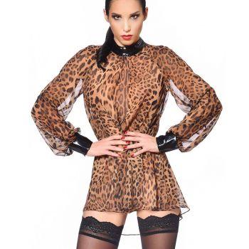 Transparent Blouse EMILIA - Leopard Print