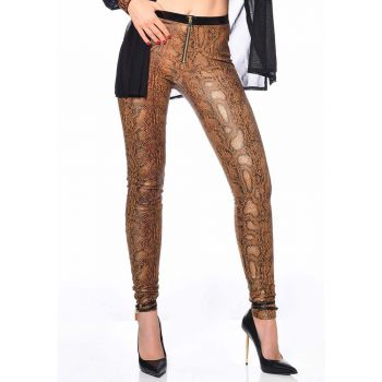 Wet Look Treggings ANN - Snake Print Brown*