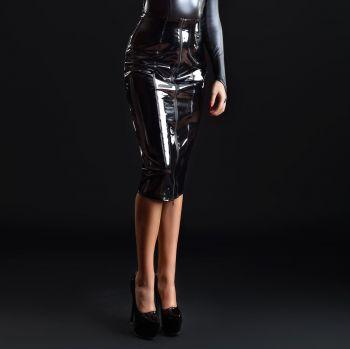 Knee-length Vinyl Skirt - Black