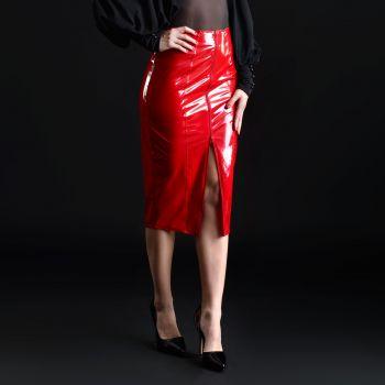 Knee-length Vinyl Skirt - Red