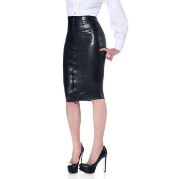 Knee-length Faux Leather Skirt - Black*