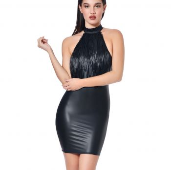 Backless Wet Look Dress - Black