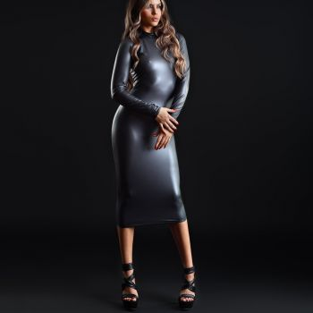 Long Wet look Dress LEXI - Black