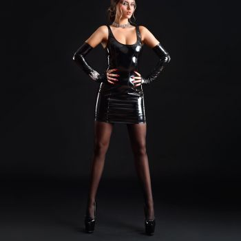 Vinyl Mini Dress KATERINE - Black