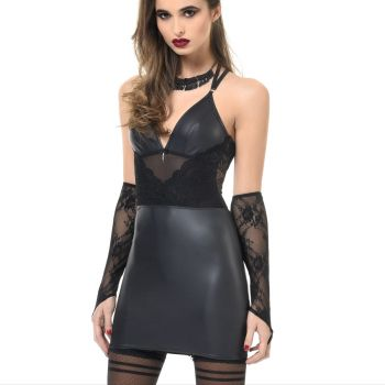 Wet Look / Lace Lingerie Dress LYDIA