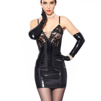 Vinyl Strap Dress with Mesh Top - Black