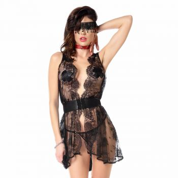 Lace Lingerie Dress and Thong KAROLA - Black