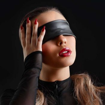 Wet Look Blindfold - Black