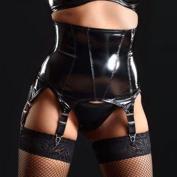 Vinyl Suspender Waist Cincher NELL - Black