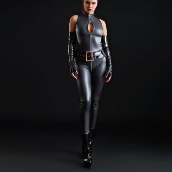Wet Look Catsuit ANGELICA - Black