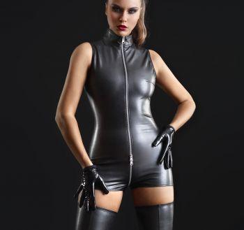 Faux Leather Bodysuit - Black