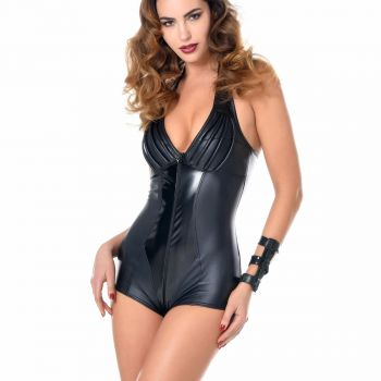 RUBY Wet Look Halterneck Bodysuit