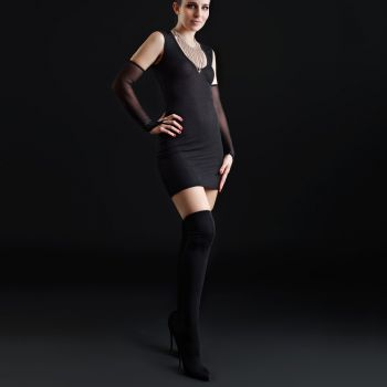 Stretch Mini Dress with Mesh Backside - Black