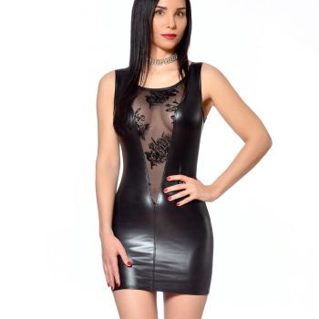 Wet Look Mini Dress PAULA - Black