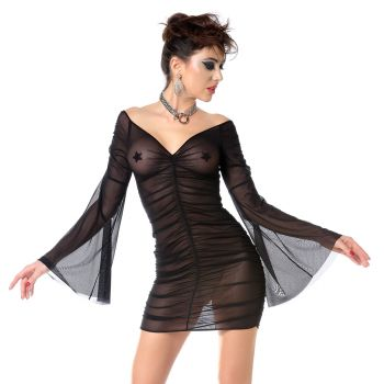 Longsleeve Mesh Minidress - Black