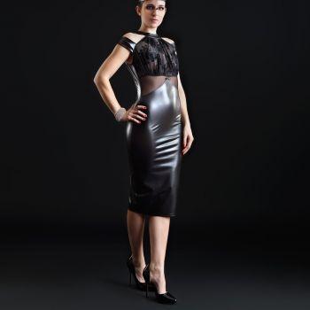 Wet Look Mini Dress SMOOTHIE - Black