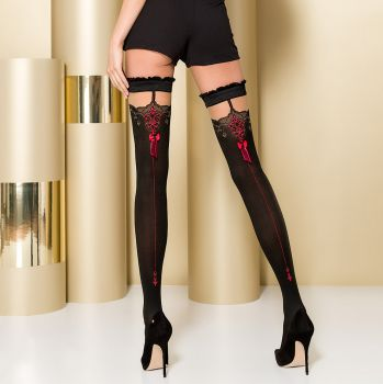 Hold-Up Seamed Stockings ST100 - Black/Red*
