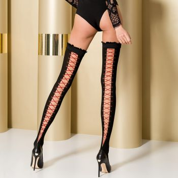 Hold-Up Stockings ST101 - Black/Red*