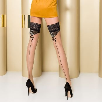 Hold-Up Seamed Stockings ST103 - Nude/Black*