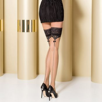 Hold-Up Seamed Stockings ST105 - Nude/Black/Grey*