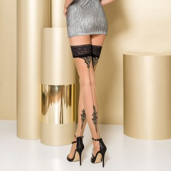 Hold-Up Seamed Stockings ST106 - Nude/Black*